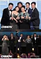 V(防弾少年団)にパク・ソジュン…映画「パラサイト」でSAG「アンサンブル賞」受賞の親友チェ・ウシクを祝福の画像